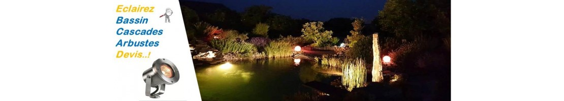 Outdoor lighting for waterfalls and pools