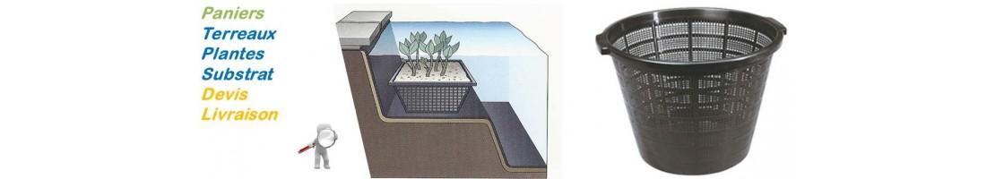 Paniers et terreaux de bassin